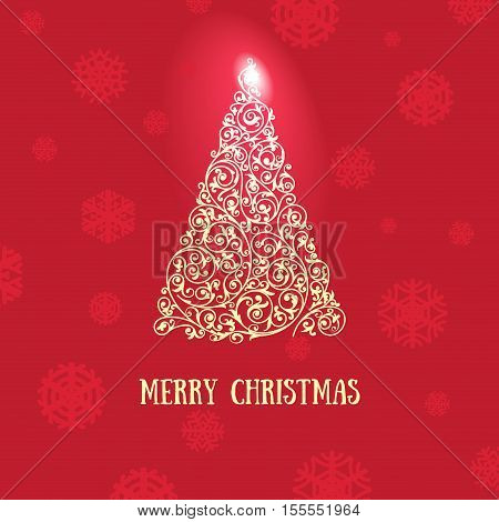 Christmas greeting card with bright christmas tree made of swirls, with red background good for flyers, brochures, backdrops, wall paper or as element of bigger design