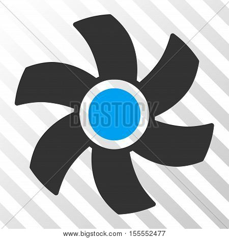 Rotor vector pictograph. Illustration style is flat iconic bicolor blue and gray symbol on a hatched transparent background.