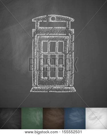 phone booth icon. Hand drawn vector illustration. Chalkboard Design