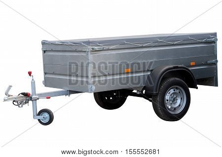 Modern car trailer isolated on white background.
