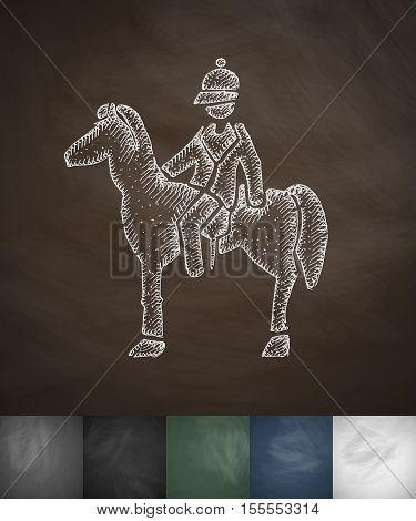 Rider on the horse icon. Hand drawn vector illustration. Chalkboard Design