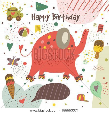 Cute hand drawn doodle postcard with elephant with roller skates ice cream flag ball butterfly heart cap polka dot stripes. Happy birthday cover. Background for children with animal
