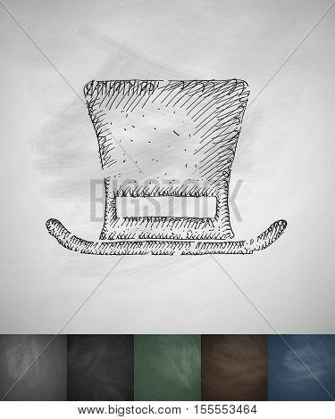 cylinder hat icon. Hand drawn vector illustration. Chalkboard Design