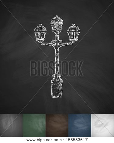lamp icon. Hand drawn vector illustration. Chalkboard Design