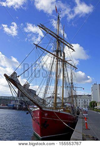 Copenhagen, Denmark - Sep 1, 2016: Yacht berthed in Copenhagen sea port.