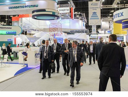 St. Petersburg, Russia - 4 October, Large crowd of people on the Gas Forum, 2016. Petersburg Gas Forum which takes place in Expoforum.