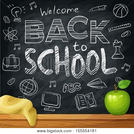 Welcome back to school, 1st September, Knowledge Day. Background on black chalkboard with school elements. Cartoon vector illustration