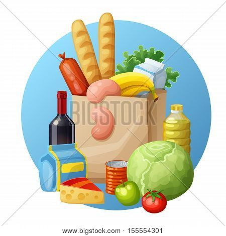 Grocery bag. Cartoon vector illustration. Bread, bananas, green, wine, tomato, cabbage, sausages, apples, milk, oil, cheese, tin