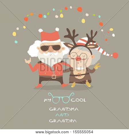 Cool grandma and grandpa wearing carnival costumes of Santa Claus and reindeer. Vector illustration
