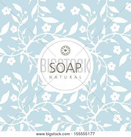 Background design for natural handmade soap. Graphic design element.