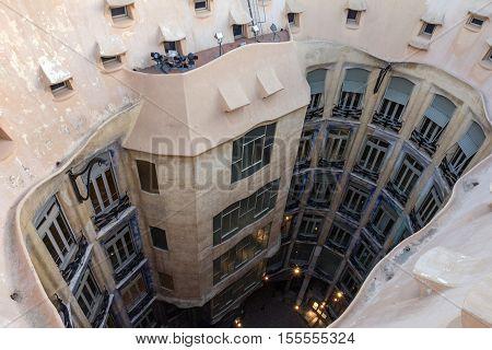 Barcelona, Spain - Aug 1, 2016: La Pedrera Famous house Casa Mila by Gaudi. Internal yard