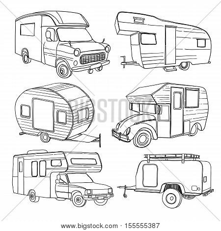 Vector illustration of Set isolated Hand Drawn, doodle Camper trailer, car Recreation transport, Vehicles Camper Vans Caravans Lines Icons. Motor home.