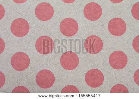 pattern with red Circle dots on brown paper background