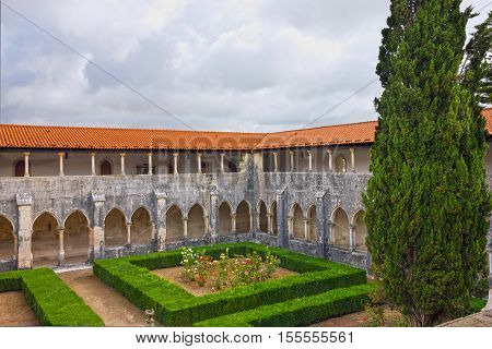 Internal yard of Alcobaca Dominican medieval monastery, Portugal - great masterpieces of Gothic art. UNESCO World Heritage