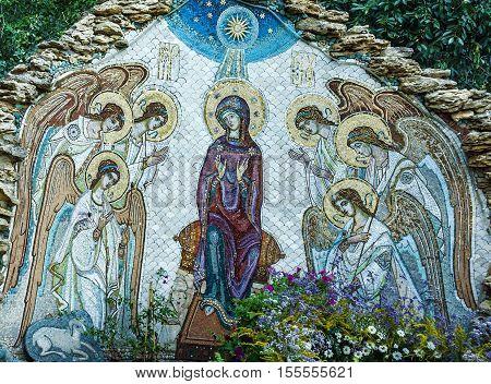 Odessa, Ukraine - Jan 7, 2016: Christmas mosaic icon of Virgin Mary with angels in Orthodox Christian monastery in Odessa, Ukraine