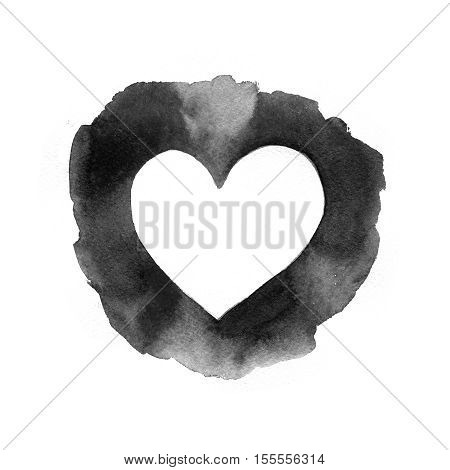 Creased old  paper with handmade heart background. Expressive style. Vintage  background. Retro  background. Old textured paper. Valentines day background. Black heart background