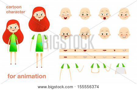Schoolgirl. Character design for animation. Parts of body template elements. Kids face with emotions. Girl cartoon animated vector illustration. Isolated on white background. Set of mouth, hands