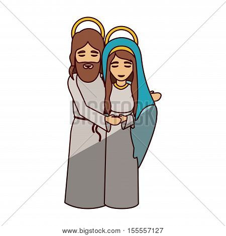Mary and jesus cartoon icon. Holy night family christmas and betlehem theme. Isolated design. Vector illustration