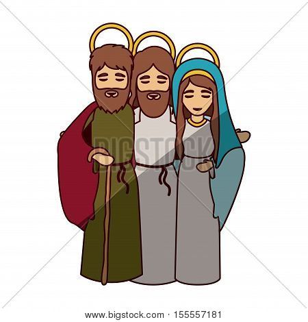 Mary joseph and jesus icon. Holy night family christmas and betlehem theme. Isolated design. Vector illustration