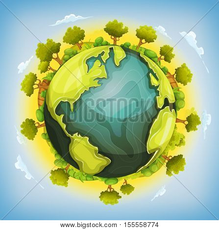 Illustration of a cartoon earth planet globe with environment elements around agriculture fields trees hedges bush meadows and grass