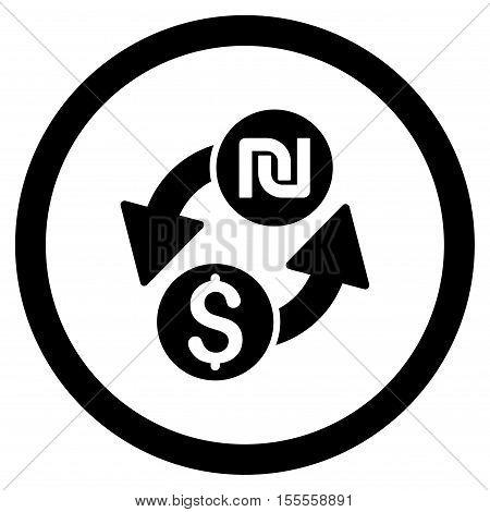 Dollar Shekel Exchange rounded icon. Vector illustration style is flat iconic symbol, black color, white background.