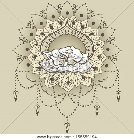 Freehand drawing of rose in east style. Can be used for backgrounds business style tattoo templates cards design or else. Vector illustration.