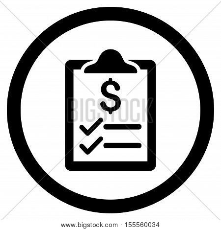 Invoice Pad rounded icon. Vector illustration style is flat iconic symbol, black color, white background.