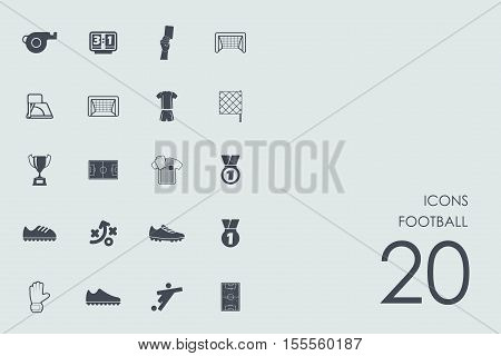 football vector set of modern simple icons