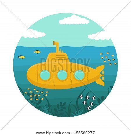 Yellow Submarine underwater with Periscope. Flat Design Style. Vector illustration