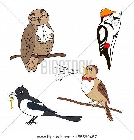 Set of cartoon birds. Owl woodpecker magpie nightingale