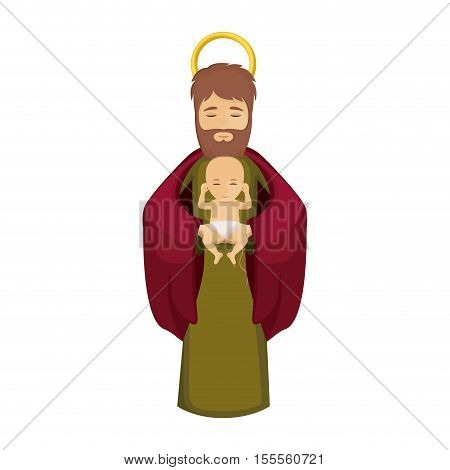 Joseph and baby jesus icon. Holy night family christmas and betlehem theme. Isolated design. Vector illustration