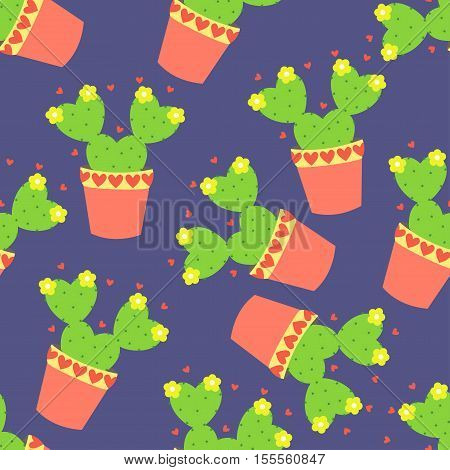 Cute cacti, flowerpots. Seamless pattern with cute cacti. Nature,spring. Cute illustration.