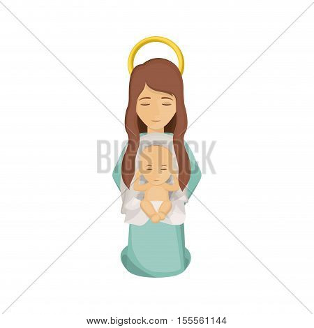 Mary and baby jesus icon. Holy night family christmas and betlehem theme. Isolated design. Vector illustration