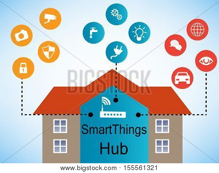 Smart things conected. Remote home control online. Smart Home Technology Internet networking concept. Internet of things/Smart home automation. Internet of things