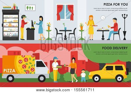 Pizza For You and Food Delivery flat  concept web vector illustration. Deliveryman, People, Car. Pizzeria Restaurant interior presentation.