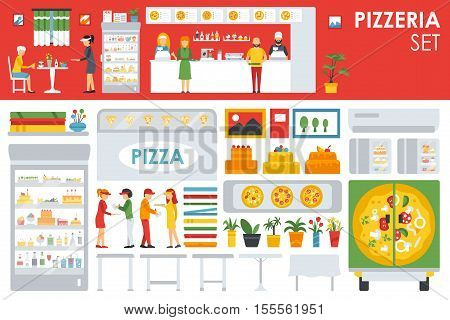 Big detailed Pizzeria Interior flat icons set. Menu, Refrigerator, Waiter, Chairs, Deliveryman, Tables. Pizza conceptual web vector illustration.