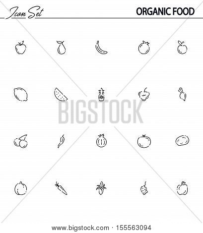 Fruit and vegetables icon set. Collection of high quality outline symbols for web design, mobile app, logo. Flat signs of apple, pepper, onion, carrot, tomato, grape, corn, etc. Organic food line icon.