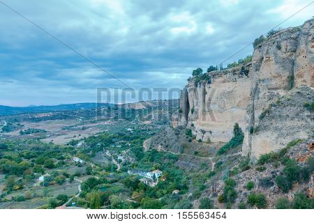 Aerial view of the valley near the village of Ronda at sunset. Spain. Andalusia.