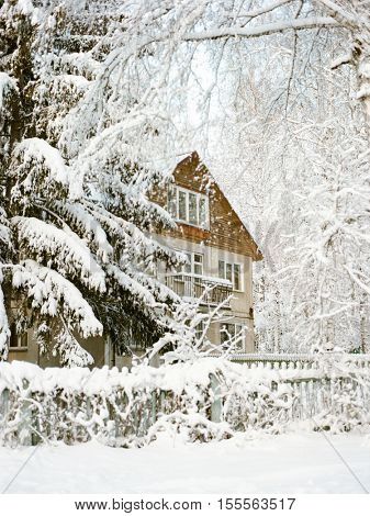 Winter view with snowy house in the forest