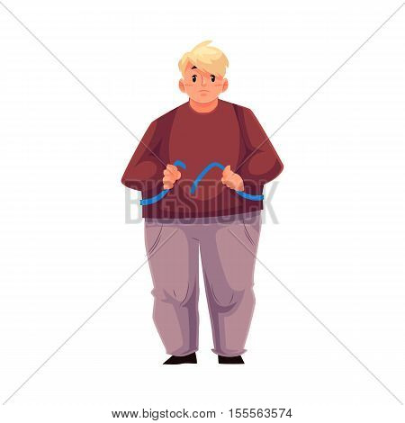 Fat man measuring himself with a tape and feeling sad with results, cartoon vector illustration isolated on white background. Overweight man measuring his weight, failed weight loss attempt