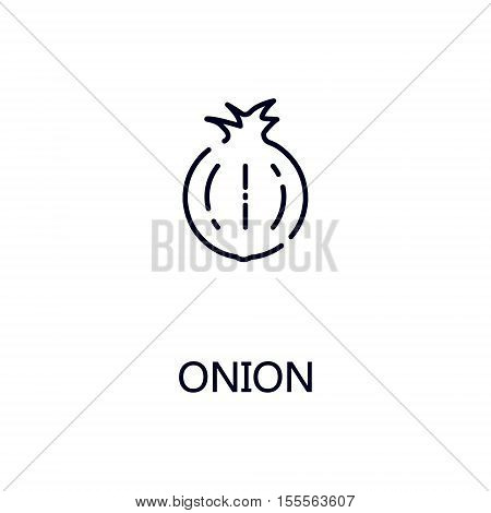 Onion flat icon. Single high quality outline symbol of vetetable for web design or mobile app. Thin line signs of onion for design logo, visit card, etc. Outline pictogram of onion.