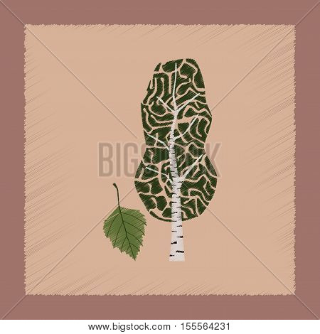 flat shading style Illustrations of plant Betula