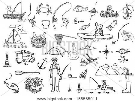 Hand drawn icons about fishing isolated on white background - Stock Vector