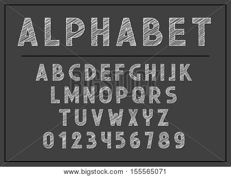 Alphabet letter. Font and abc letters print typography vector Illustration. Retro type font, vintage alphabet.