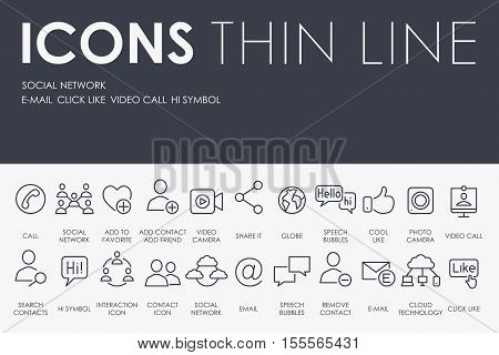 Thin Stroke Line Icons of Social Network on White Background