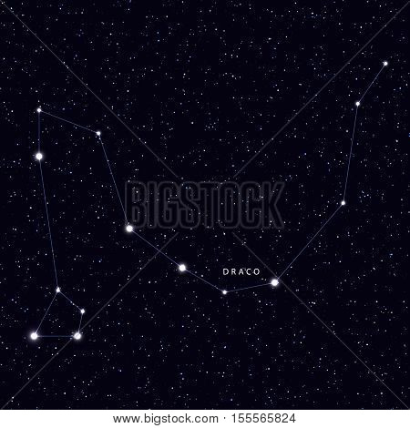 Sky Map with the name of the stars and constellations. Astronomical symbol constellation Draco