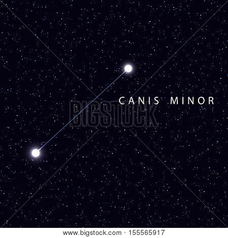 Sky Map with the name of the stars and constellations. Astronomical symbol constellation Canis Minor