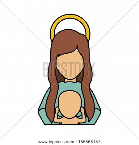 Mary and baby jesus cartoon icon. Holy night family christmas and betlehem theme. Isolated design. Vector illustration
