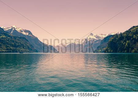 Air background. Ridge Mountains. Tops in snow. Lake Lucerne. Switzerland. Wide-Angle Lens