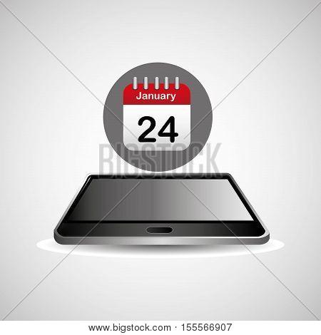 smartphone black lying agenda calendar icon design vector illustration eps 10